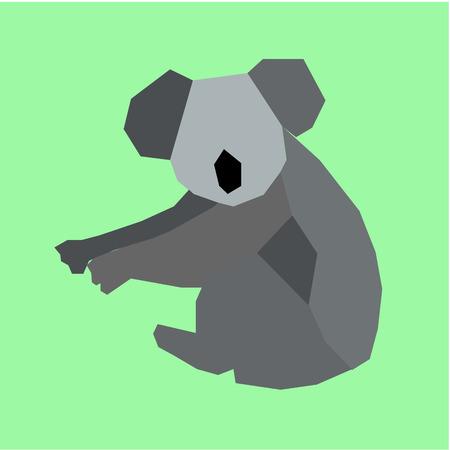 koala: Isolated koala on a green background. Low Poly vector illustration