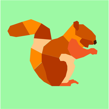 isolated squirrel: Isolated squirrel on a green background. Low Poly vector illustration Illustration