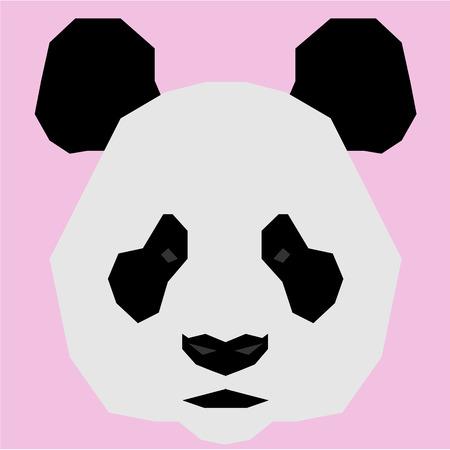 oso panda: Panda aislado en un fondo rosado. Ilustración vectorial bajo Poli Vectores
