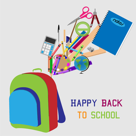 Isolated bag and school supplies. Vector illustration