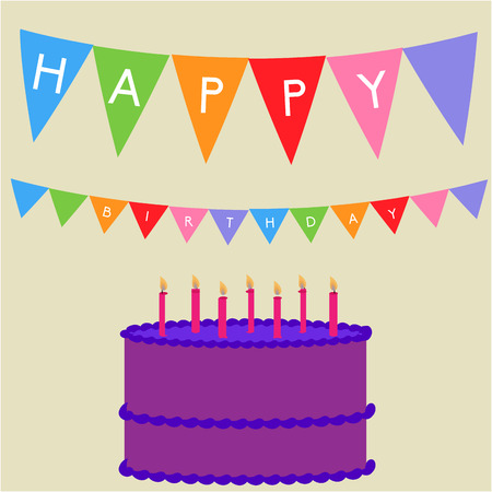 birthday candle: Brown background with a birthday cake and ornaments. Vector illustration Illustration