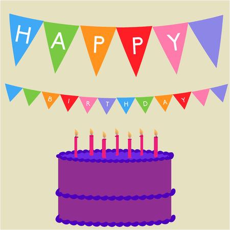 pastel cumpleaños: Fondo de Brown con un pastel de cumpleaños y adornos. Ilustración vectorial