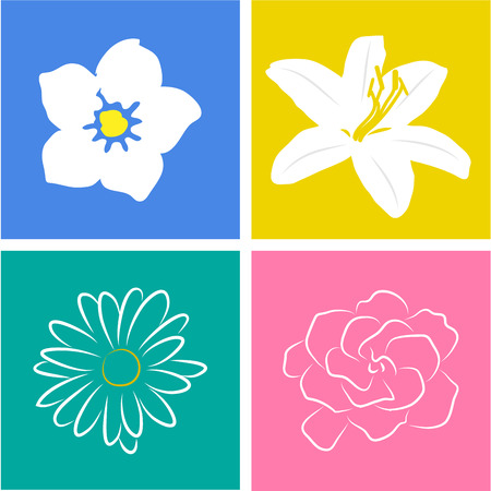 appoints: Set of flowers on colored backgrounds. Vector illustration Illustration
