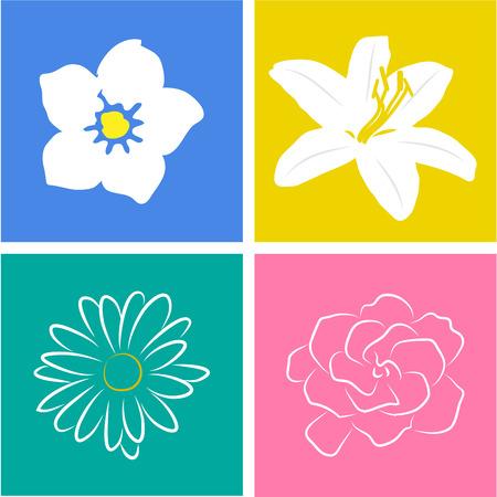appoints: Set of flowers on colored backgrounds. Vector illustration Illustration