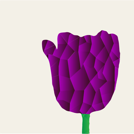 appoints: Isolated flower on a colored backgrounds. Low Poly Vector illustration