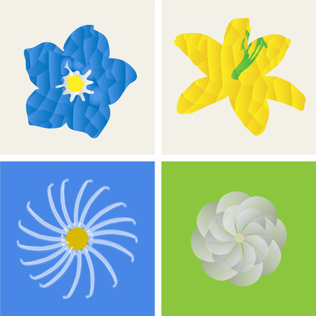 Set of flowers on colored backgrounds. Low Poly Vector illustration