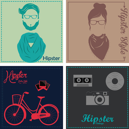 colored backgrounds: Set of colored backgrounds with some hipster icons. Vector illustration Illustration