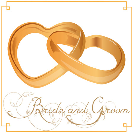 White background with a pair of golden rings for wedding events.  Vector