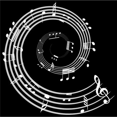 pentagramma musicale: Gruppo di note musicali su uno sfondo nero. Illustrazione vettoriale