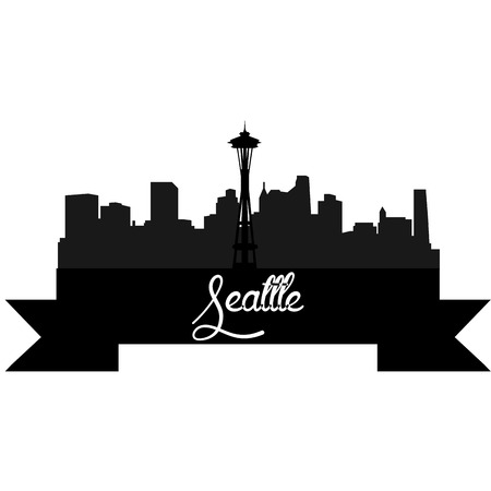 Isolated silhouette of a skyline of Seattle and its monuments. Vector illustration Illustration