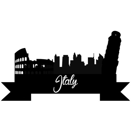 Isolated silhouette of a skyline of some italian cities and its monuments. Vector illustration Illustration
