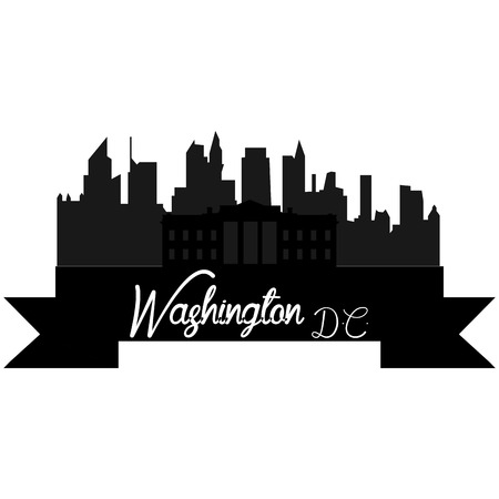 Isolated silhouette of a skyline of Washington and its monuments. Vector illustration Illustration