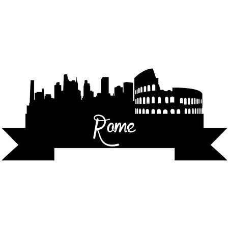Isolati silhouette di uno skyline di Roma e dei suoi monumenti. Illustrazione vettoriale