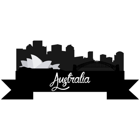 Isolated silhouette of a skyline of some australian cities and its monuments. Vector illustration