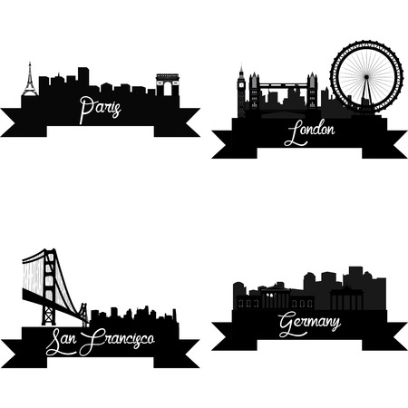 monuments: Set of skylines with monuments on a white background. Vector illustration