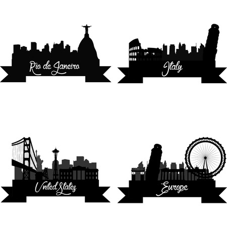 Set of skylines with monuments on a white background. Vector illustration