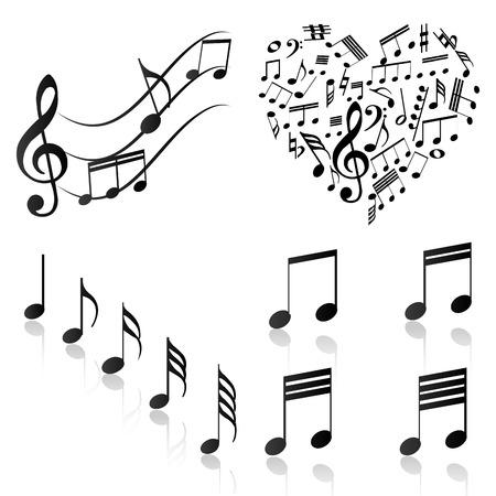 pentagramma musicale: Gruppo di note musicali su uno sfondo bianco. Illustrazione vettoriale Vettoriali