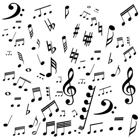 白の背景上の音符のグループ。ベクトル図
