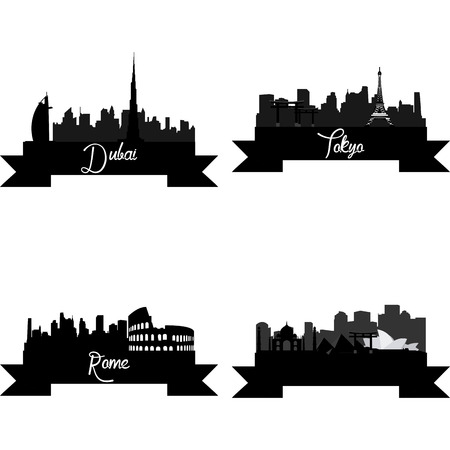 skylines: Set of skylines with monuments on a white background. Vector illustration