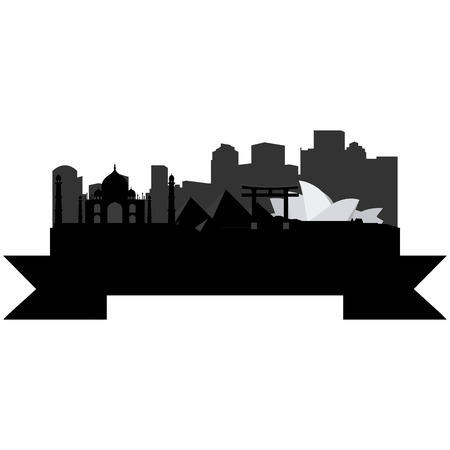 Isolated silhouette of a skyline of cities around the world and its monuments. Vector illustration
