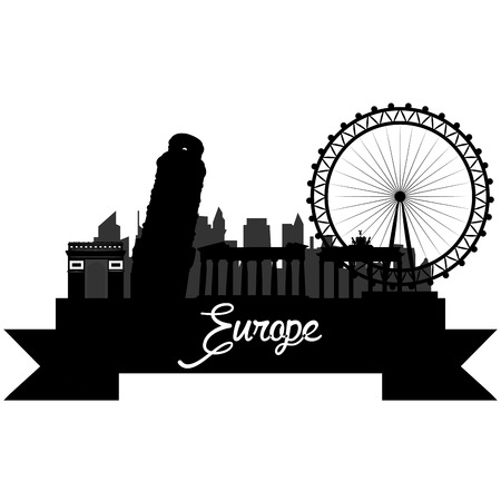 Isolated silhouette of a skyline of some european cities and its monuments. Vector illustration Illustration