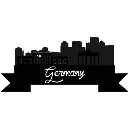 Silhouette isolée d'une ligne d'horizon de certaines villes allemandes et de ses monuments. Vector illustration Banque d'images - 41544571