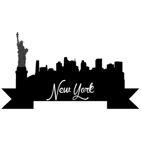 Isolated silhouette of a skyline of New York and its monuments. Vector illustration Illustration