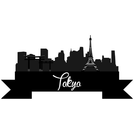 Isolated silhouette of a skyline of Tokyo and its monuments. Vector illustration