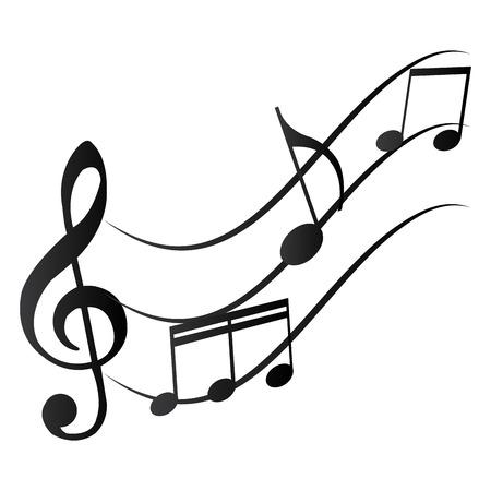 Grupo de notas musicales sobre un fondo blanco. Ilustración vectorial