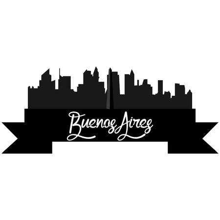 aires: Isolated silhouette of a skyline of Buenos Aires and its monuments. Vector illustration