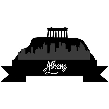 athens: Isolated silhouette of a skyline of Athens and its monuments. Vector illustration