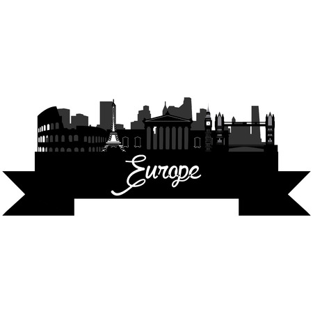 steel bridge: Isolated silhouette of a skyline of some european cities and its monuments. Vector illustration Illustration