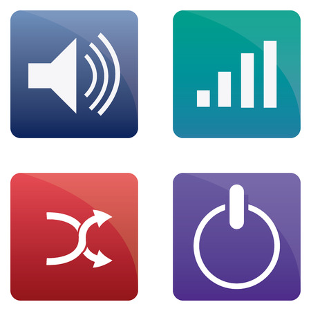 media buttons: Set of media buttons on a white background. Vector illustration