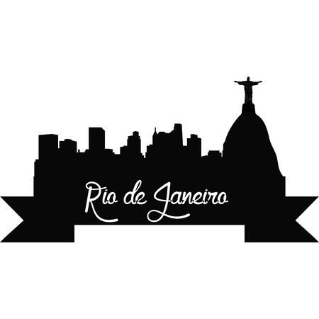 cristo: Isolated silhouette of a skyline of Rio de Janeiro and its monuments. Vector illustration