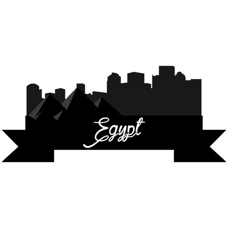 Isolated silhouette of a skyline of some egyptian cities and its monuments. Vector illustration Illustration