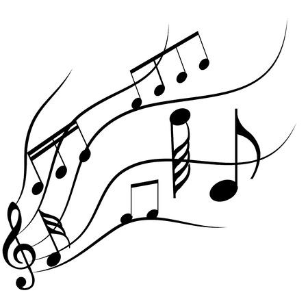 Grupo de notas musicales sobre un fondo blanco. Ilustración vectorial Foto de archivo - 41544959