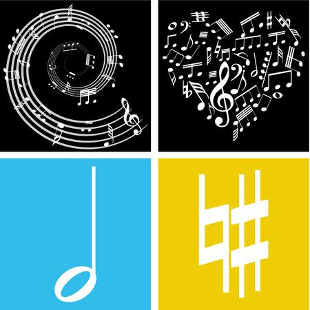 pentagramma musicale: Gruppo di note musicali su diversi sfondi colorati. Illustrazione vettoriale
