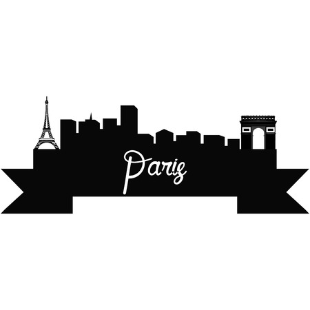 Isolated silhouette of a skyline of Paris and its monuments. Vector illustration