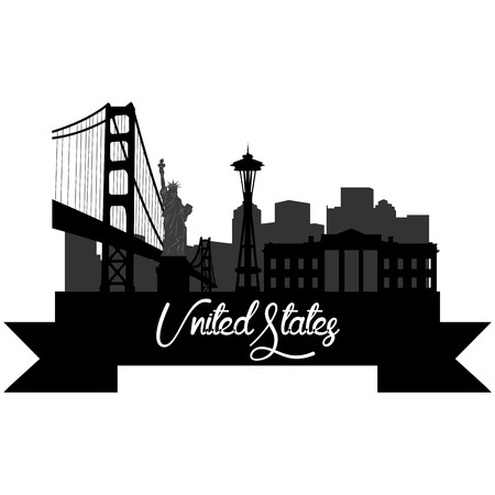 Isolated silhouette of a skyline of some United states cities and its monuments. Vector illustration