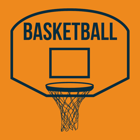 basketball net: Orange background with text and a basketball net. Vector illustration