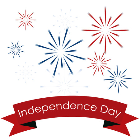 White background with fireworks and a ribbon with text. Vector illustration