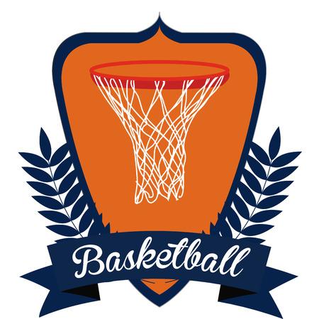 basketball net: Escudo her�ldica aislados con una cinta, una corona de laurel y una canasta de baloncesto. Ilustraci�n vectorial Vectores