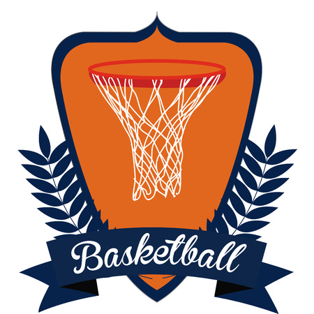 basketball net: Isolated heraldry shield with a ribbon, a laurel wreath and a basketball net. Vector illustration