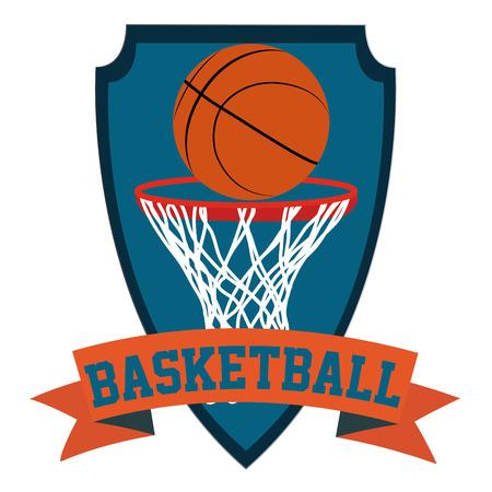 basketball net: Escudo her�ldica aislados con una cinta con el texto y una canasta de baloncesto y pelota. Ilustraci�n vectorial Vectores