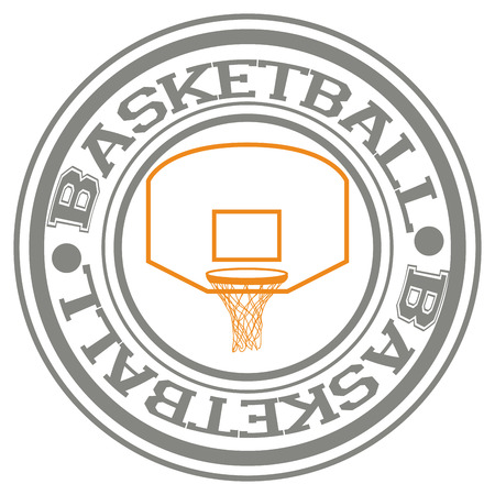 basketball net: Isolated label with text and a basketball net. Vector illustration