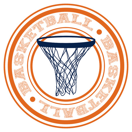 basketball net: Label con texto y una canasta de baloncesto. Ilustraci�n vectorial