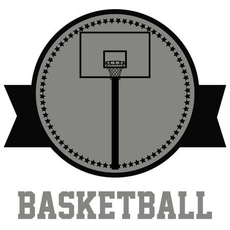 basketball net: Label con el texto, las estrellas y una canasta de baloncesto. Ilustraci�n vectorial