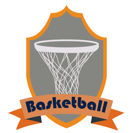 basketball net: Isolated heraldry shield with a ribbon and a basketball net. Vector illustration