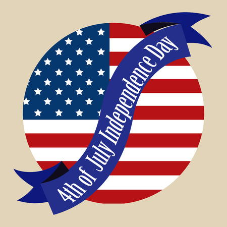 Round label with american flag and a ribbon for independence day. Vector illustration