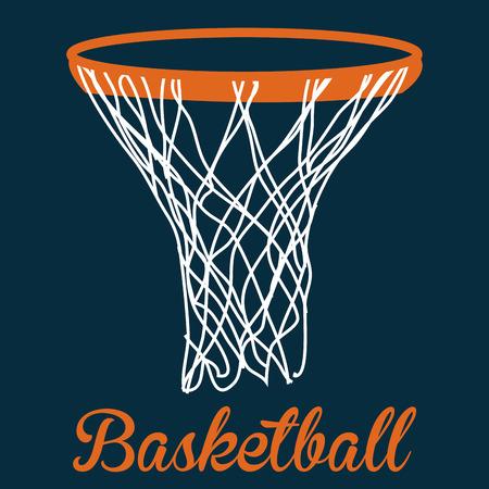 basketball net: Fondo azul con texto y una canasta de baloncesto. Ilustraci�n vectorial Vectores